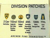 Archer Transfers 1//35 US 1st,4th,24th and 63rd Infantry Divisions Patches
