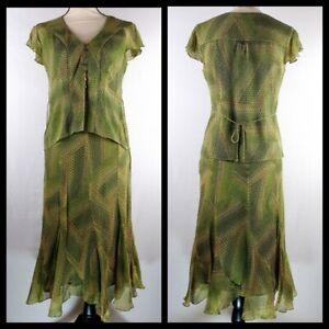 Anne Klein 100% Silk Blouse Top and Skirt Set Green Geometric Circles Size 4