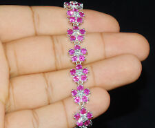Certified Natural 18.6Ct VS F Diamond Ruby 18K Solid Gold Floral Tennis Bracelet