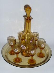 sevice à liqueurs en verre soufflé émaillé jaune antique LEGRAS ,Enamelled glass