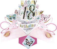 "18. Geburtstag Pop Up 3D Edle Grusskarte Aufschrift ""Happy Birthday"" Gr. 17x23cm"