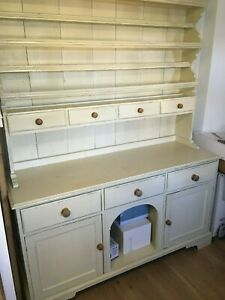Large Solid Wood Welsh Dresser - painted cream
