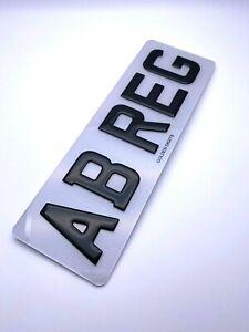 "3D GEL NUMBER PLATE RAISED DOMED GLOSS BLACK 5 DIGIT 13"" FRONT SHORT ROAD LEGAL"