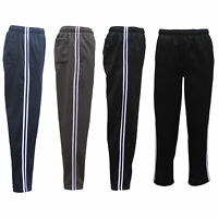 Mens Fleece Lined Track Sweat Pants Casual Tracksuit w Stripes Breathable Mesh