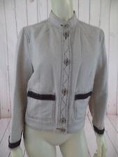Harve Benard Blazer Jacket 10 Natural Beige Linen Rayon Blend Shorty Boxy Retro