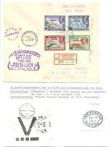 DUTCH ANTILLEN -CURACAO -1943 REG CV ( 2 x CENSOR ) -TO USA --VF