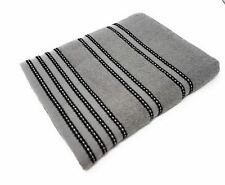 3 PCE SET STRIPED BRIGHT 100% COTTON SOFT BLACK GREY HAND BATH SHEET TOWEL