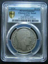 France : 20 Francs Turin 1934 Silver ; PCGS : Cleaned UNC Detail