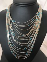 Liquid Silver Heishi 19 St Sterling Silver Necklace Turquoise Graduated Bib 1019
