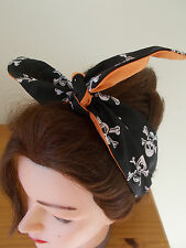 HEAD SCARF HAIR BAND BANDANNA SKULL BLACK ORANGE HALLOWEEN ROCKABILLY PIRATE  2