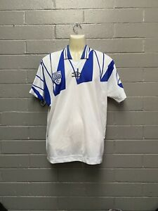 Vintage Umbro Jersey Made In Aus Size L Blue And White Soccer Jersey 90s Rad