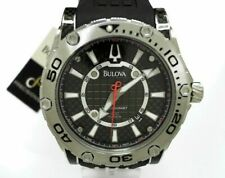 Bulova Precisionist Men's Round Carbon Analog Date Silicone Watch NWT