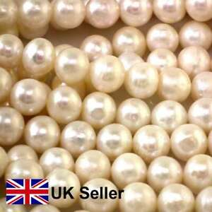 9mm freshwater semi-round loose pearl string, white, by Pearls Direct UK
