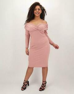 SIMPLY BE Dusky Pink Ruched Bardot Bodycon Dress UK 16   US 12  EUR 44 (FS104-4)