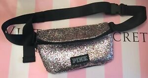 NWT VICTORIA'S SECRET PINK RAINBOW SILVER GLITTER BLACK LOGO FANNY PACK BELT BAG