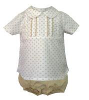*SALE* Gorgeous Baby Boy Spanish Beige Suit Top& Shorts Outfits/1M-18 M