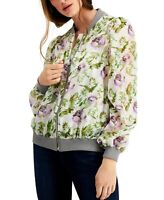 INC Womens Bomber Jacket Green White Size Medium M Floral Organza $99 256