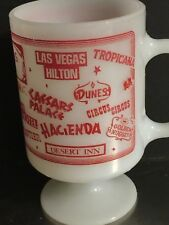 Vintage Milk Glass Pedestal Mug Las Vegas Casinos Irish Coffee Tea Souvenir Cup