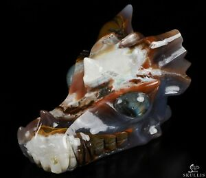 "GOOD QUALITY 5.0"" AGATE Carved Crystal Dragon Skull, Labradorite Eyes"