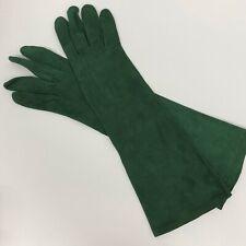 Women's Vintage Saint Laurent Suede Chevreau Gloves Green Hi Quality Size 7 1/2
