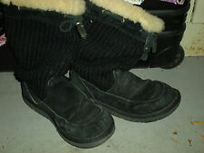 UGG Australia Womens Black Sheepskin Suede Drawstring Winter Boots Sz 8