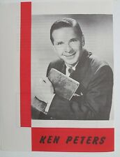 RARE Vintage KEN PETERS Radio & T.V. Personalities INFORMATIONAL Brochure Paper