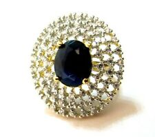 Indian Bollywood Ring Cocktail Adjustable Blue Stone Crystal Ethnic Jewelry Lady
