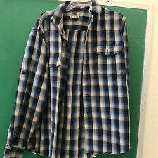 LL Bean Mens Medium Reg Navy Blue/Gray/Black Plaid Flannel Shirt~EUC