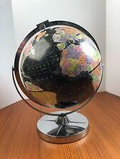 Vintage Replogle Encyclopedia Britannica Black Globe Ocean World Earth Chrome