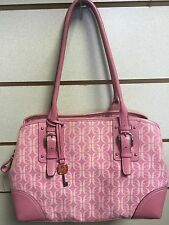 Fossil Pink Hobo Purse Bag F Print Canvas And Leather Shoulder Bag