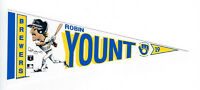 "1990 BREWERS Robin Yount 7"" pennant decal original vintage Milwaukee HOFer"