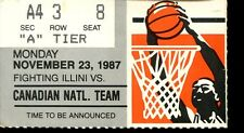 College Basketball Ticket Illinois 1987-88 Canadian National Team 11/23