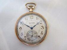 Schöne alte offene Taschenuhr Waltham vergoldet