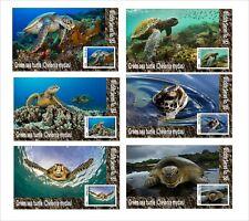 2020 GREEN SEA TURTLE  MARINE LIFE 6 SOUVENIR SHEETS  UNPERFORATED