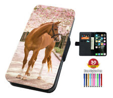 Pretty Horse Floral Flip Phone Case Cover for iPhone Samsung And Huawei Wallet