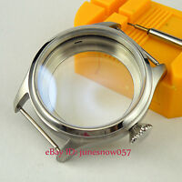 Stainless Steel Brushed Watch Case 47mm Big Crown Fit ETA 6497 6498 Movement