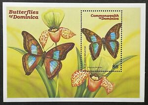 DOMINICA BUTTERFLY STAMPS SS 2000 MNH BUTTERFLIES ORCHID FLOWERS WILDLIFE INSECT