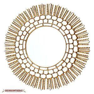 "Handmade Large Gold Round wall Mirror Cuzco style 31.5""H - Home room decor Sun"