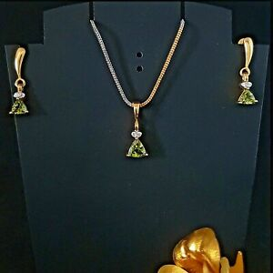 10 Carat Gold Peridot Gemstone Trillion Shape Pendant Earring Fine Jewelry Sets