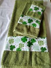 Bath, Hand Wash Cloth Shamrocks St. Patricks  3 piece green towel set