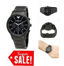 *NEW* MENS EMPORIO ARMANI BLACK ION PLATED WATCH - AR2485 UK STOCK GIFT