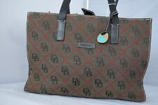 Dooney & Bourke Handbag,Tote Purse Brown, Dark Brown Leather, Red Diamond  DB's