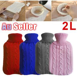 2.0 Litre Winter Knitted Warmer Heat Hot Water Bottle Cover Grey Soft Bag