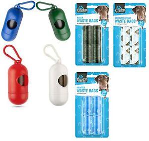 Dog Poop Waste Bag Holder Dispenser With Lead Attachment Plastic Dog poo Bags UK