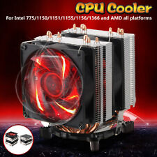 4 Pin LED Computer 2 Fans CPU Cooler Heatsink  for Intel 775/1150/1151/1155/1366
