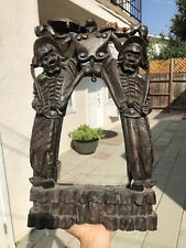 Antique Chinese Silver Inlaid Carved Hardwood Bell Stand Statue Male Figures Bat