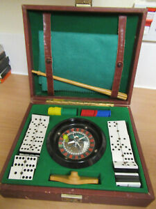 Vintage Table Roulette Wheel set with Dominoes and Counters etc
