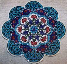 "Blue Tulip & Red Carnation Pattern 7"" Turkish Ceramic Hot Plate Trivet Tile"