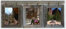 "Rustic (3) 8x10 Reclaimed 1.5"" Barn Wood Picture Collage Photo Frame"