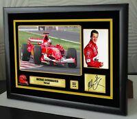 "Michael Schumacher F1 Tribute Ferrari Framed Canvas Signed Print ""Great Gift"""